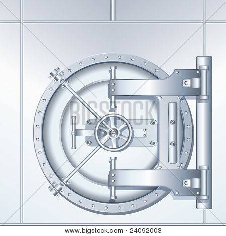 Detailed vector illustration of Bank Vaulted Door
