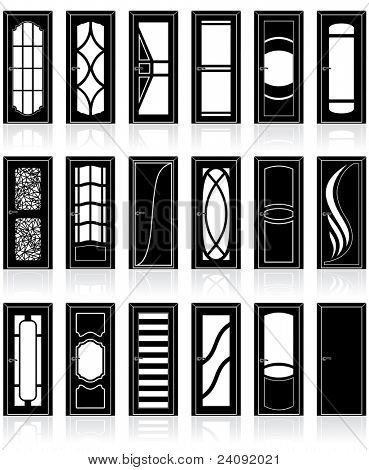 Large Collection of classic interior and front doors silhouettes, vector detailed clip art of classical decor