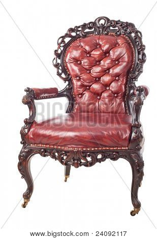 Vintage leather armchair isolated on a white background