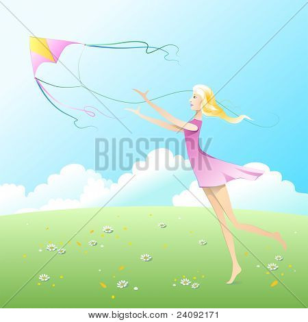 Girl fly a kite.