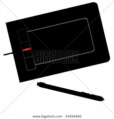Graphic Tablet Black Vector Illustration