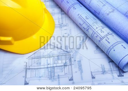 Architect Design Printout And Safety Helmet