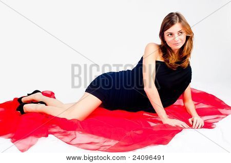 Pretty woman on red scarf