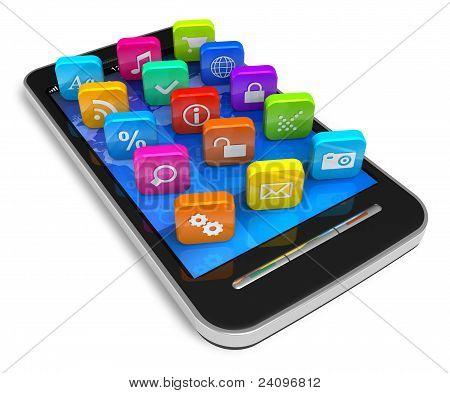 Smartphone con pantalla táctil con iconos de aplicaciones