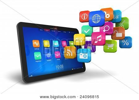Tablet-PC met cloud programmasymbolen