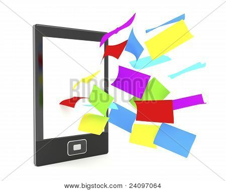 E-book Reader With Colorful Papers
