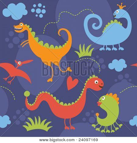 seamless pattern with cartoon dinosaur