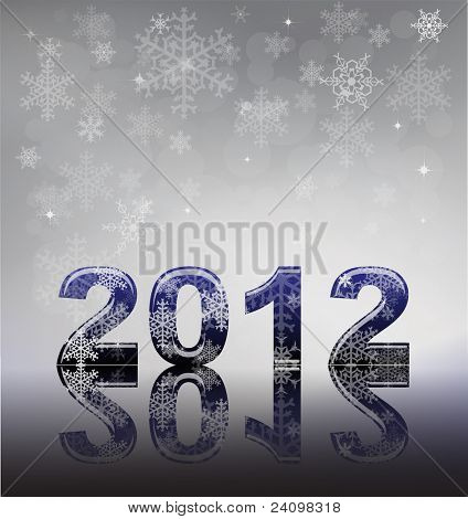 2012 flyer template. 2012 written in glossy letters with snow and reflection on silver snowflake background with space for your text.  Also available in vector format.