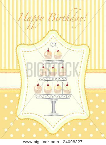 A stencil style silver cake stand full of cherry cupcakes. Birthday card template. Also available in vector format.