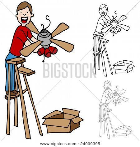 An image of a man on a ladder installing a ceiling fan.