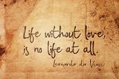 Life Without Love, Is No Life At All - Ancient Italian Artist Leonardo Da Vinci Quote Printed On Vin poster