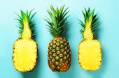 Bright Pineapple Pattern For Minimal Style. Top View. Pop Art Design, Creative Concept. Copy Space.  poster