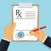 Doctor Writing Notes On A Prescription Pad. Empty Medical Prescription Rx Form. Vector Illustration poster