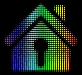 Pixelated Bright Halftone Home Keyhole Icon Using Rainbow Color Tinges With Horizontal Gradient On A poster
