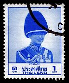 THAILAND-CIRCA 1988:A stamp printed in Thailand shows image of Bhumibol Adulyadej  is the current Ki