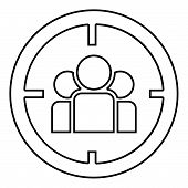People In Target Or Target Audience Icon Black Color Vector Illustration Flat Style Outline poster