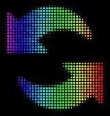 Pixel Bright Halftone Refresh Icon Drawn With Spectral Color Tones With Horizontal Gradient On A Bla poster