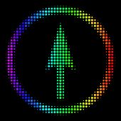 Dot Colorful Halftone Sharp Rounded Arrow Icon In Spectral Color Hues With Horizontal Gradient On A  poster