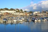 Boats Moored In Torquay Harbour In Torbay, Devon poster