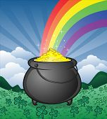 stock photo of end rainbow  - The magical pot of gold at the end of the rainbow - JPG