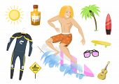 Surfing Active Water Sport Surfer Summer Time Beach Activities Man Windsurfing Jet Water Wakeboardin poster