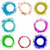 Set Of Grunge Circles. Damage Round Grunge Shape Silhouette. Circle  Distressed Grunge Texture. Text poster