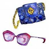 Glasses And Clutch Accessories Sketch Fashion Glamour Illustration In A Watercolor Style Isolated. A poster
