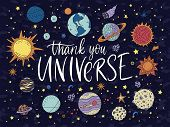 Thank You Universe. Handdrawn Vector Lettering Quote With Galaxy Illustrations. poster