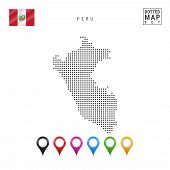 Dotted Map Of Peru. Simple Silhouette Of Peru. The National Flag Of Peru. Set Of Multicolored Map Ma poster