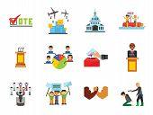 Politics Icon Set. Debates Politician Politics Leadership Vote White House Demonstration Election El poster