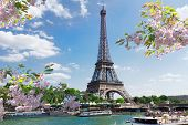 Eiffel Tour Over Seine River Waters At Spring Day, Paris, France poster