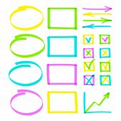 Set Of Highlighter Pen Hand Drawn Elements. Realistic Colorful Highlight Lines Circle, Oval And Squa poster