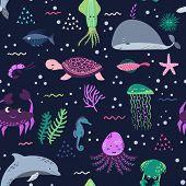 Seamless Pattern Sea Life. Underwater World. Fish, Jellyfish, Crab, Dolphin, Squid, Whale, Tortoise, poster