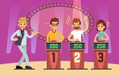 Clever Young People Playing Quiz Game Show. Cartoon Vector Illustration. Tv Competition People Intel poster