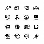 Human Resources And Person Management Icons. Job Interview, Employee Choice And Recruitment Vector S poster