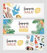 Set Of Horizontal Banner Templates For Summer Sale Promo Or Advertisement Decorated With Exotic Palm poster