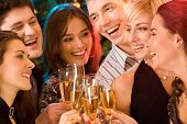 stock photo of christmas party  - Image of friends having fun together at a party - JPG
