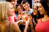picture of party people  - Portrait of happy young friends touching the glasses with each other - JPG