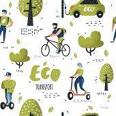 Seamless Pattern With People Riding Eco Transportation. Green Urban City Transport Background. Ecolo poster