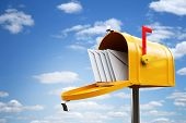 stock photo of mailbox  - yellow mailbox - JPG