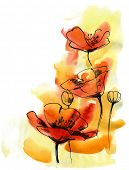Floral summer design with hand-painted abstract flowers poster