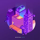 Fragment Of Night City Isometric Illustration. City Buildings In Gradient Neon Colors. Modern Metrop poster