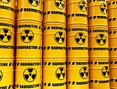 stock photo of radium  - toxic waste barrels - JPG