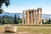 Ruins Of Temple Of Olympian Zeus In Athens, Greece. The Ancient Greek Temple Of Zeus Or Olympieion I poster