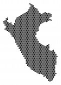 Hexagon Peru Map. Vector Territory Scheme On A White Background. Abstract Peru Map Collage Is Constr poster