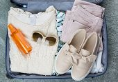 Flat Lay Packed Clothes Luggage For Summer Holiday Vacation poster