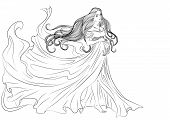 Illustration Of A Pregnant Young Girl In A Long Fluttering Dress And With Long Hair. Vector Line Art poster