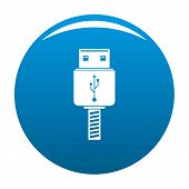 Memory Flash Drive Icon. Simple Illustration Of Memory Flash Drive Vector Icon For Any Design Blue poster