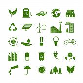 Cartoon Ecology Signs Green Icons Set Ecological Power Concept Flat Design Style. Vector Illustratio poster