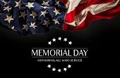 American flag with the text Memorial day. Celebration of all who served. poster